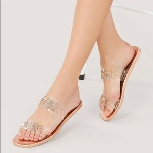 💎NWT Rose Gold Crystal Pave Sandals 💎